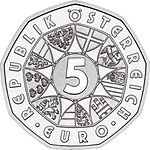 2005 Austria 5 Euro 100 Years of Skiing front.jpg