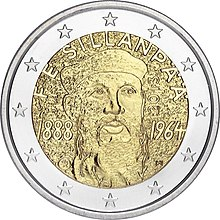 €2 commemorative coin Finland 2013 Sillanpaa.jpg