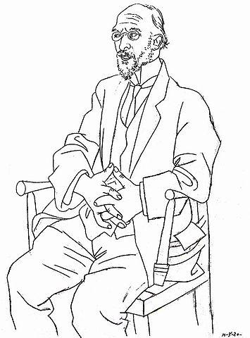 Пабло Пикассо, карикатура на Эрика Сати. (1920 год)
