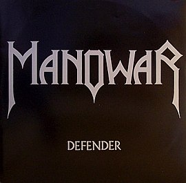 Обложка сингла Manowar «Defender» (1983)
