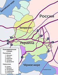 Схема газопроводов из России в Европу.
