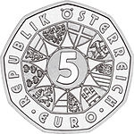 2003 Austria 5 Euro Water power front.jpg