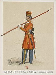 «Крымский казак конвоя ЕИВ». Французская гравюра 1860 года.