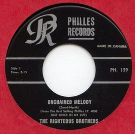Обложка сингла The Righteous Brothers «Unchained Melody» (1965)