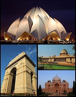 From top left: Bahá'í Lotus Temple, India Gate, Rashtrapati Bhavan, and Humayun's Tomb