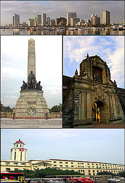 From top: Manila skyline, Rizal Monument, Fort Santiago, and Manila City Hall