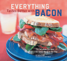 A double bacon, lettuce and tomato sandwich on a plate. Overlaid text reads: Everything Tastes Better with Bacon