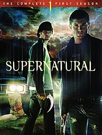 A DVD box set with the foreground of the cover portraying two men, one holding a bladed weapon and the other with a shotgun, and the background portraying an automobile and stormy sky.