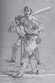 Drawing of a cricketer hit on the pads by the ball. The wicketkeeper is about to appeal.