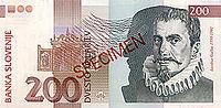 Bankovec za 200 sit (1997) - sprednja stran