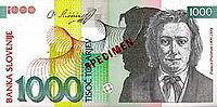 Bankovec za 1000 sit (2000) - sprednja stran