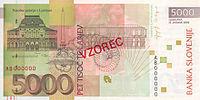 Bankovec za 5000 sit (2002) - zadnja stran