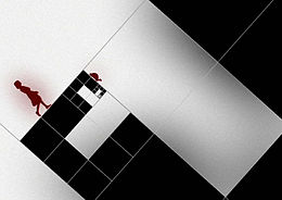 squares shown at 45 degree angles, some black and some white, one black square filled with smaller squares, red silhouette of young girl walking up one edge, red silhouette of small turtle walking down an edge