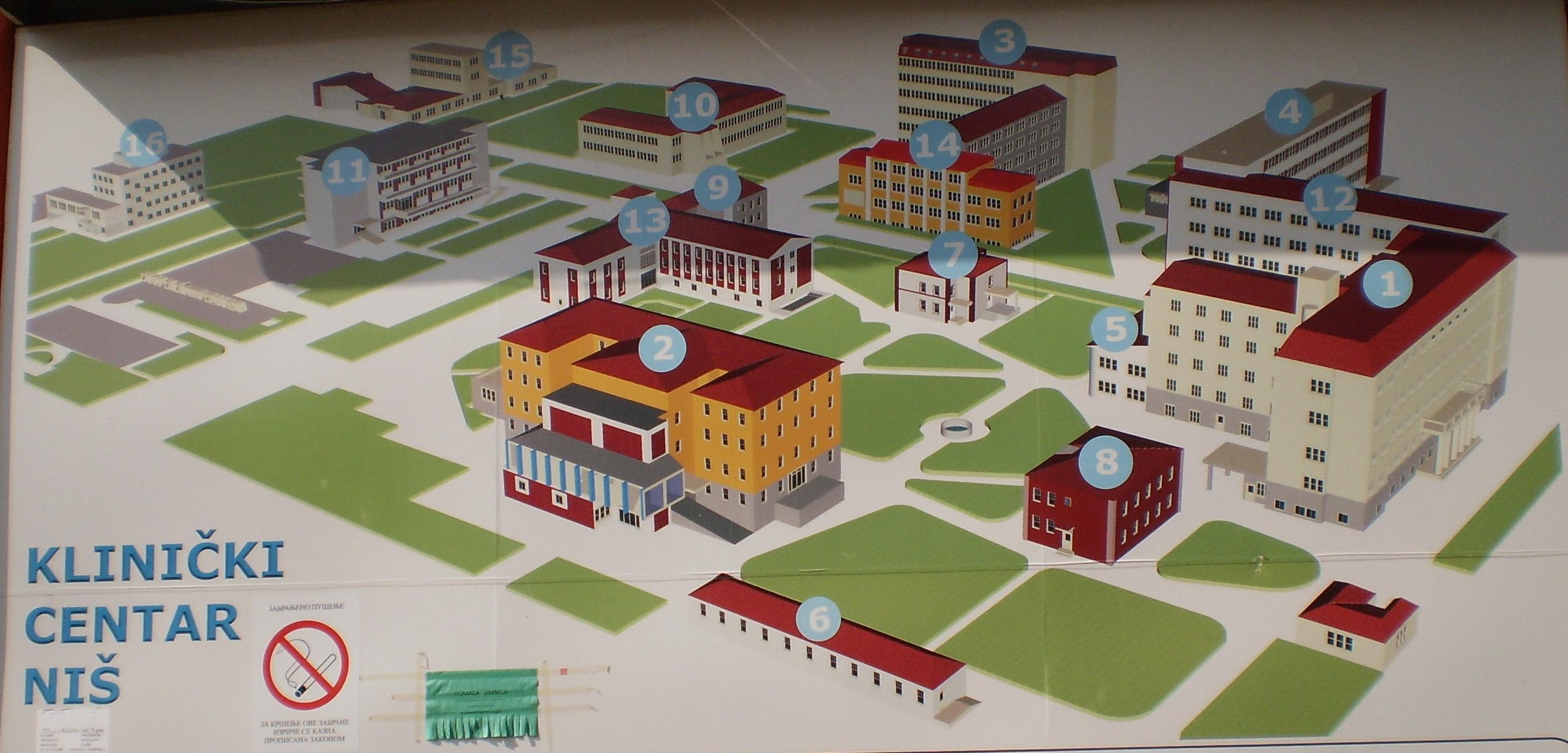 mapa klinickog centra srbije Клинички центар Ниш — Википедија, слободна енциклопедија mapa klinickog centra srbije