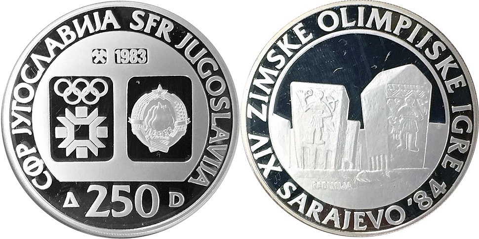 250 динара сребро ОИ Сарајево Радимља 1983