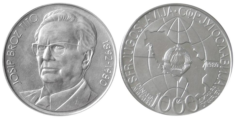 1000 динара Титова смрт 1980