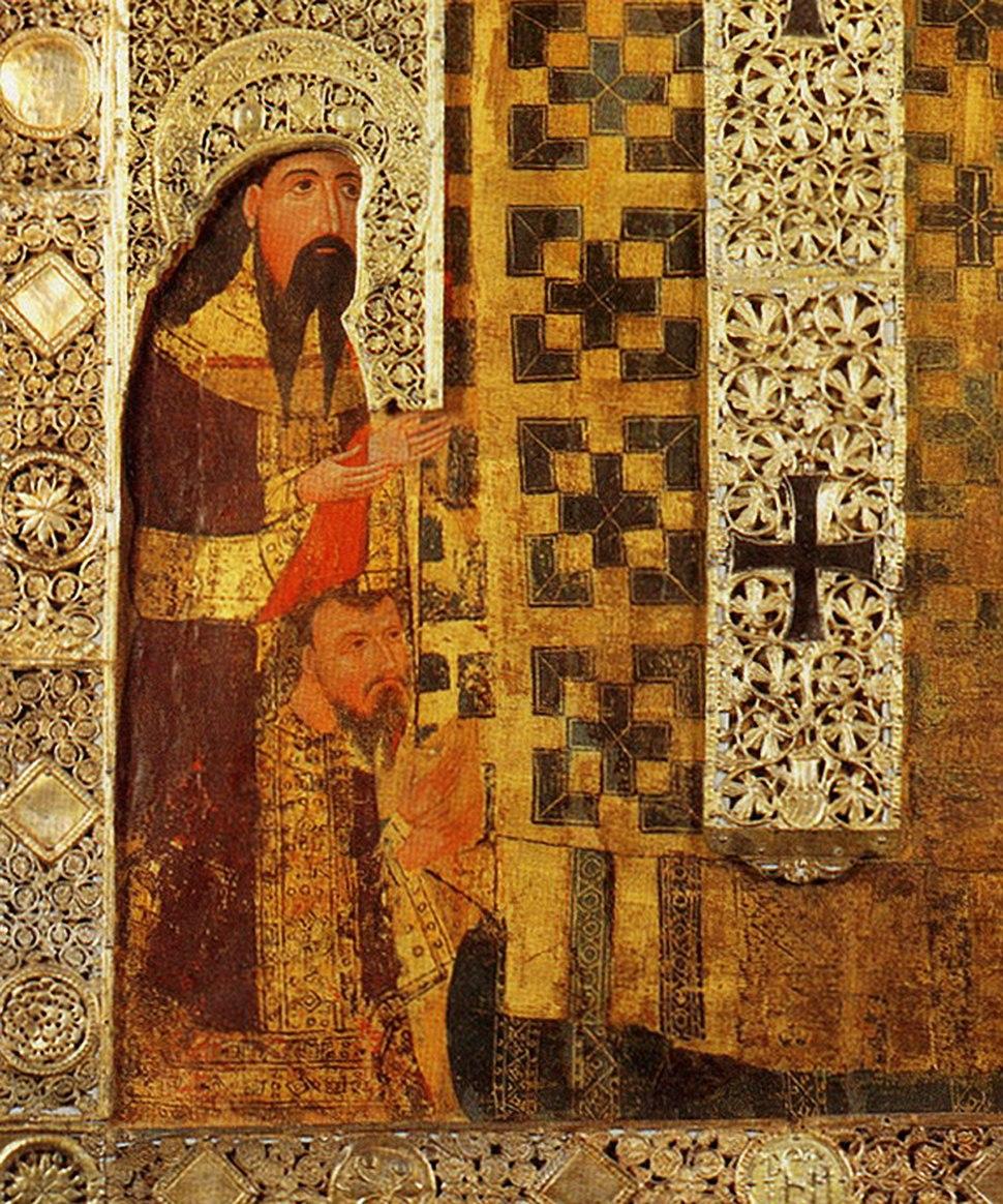 Detalj sa srpskim kraljiem Stefanom Decanskim i njegovim sinom Dusanom na ikoni Sv. Nikole (iz Barija) - u srebrnom okovu