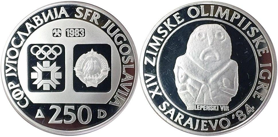 250 динара сребро ОИ Сарајево Лепенски Вир 1983