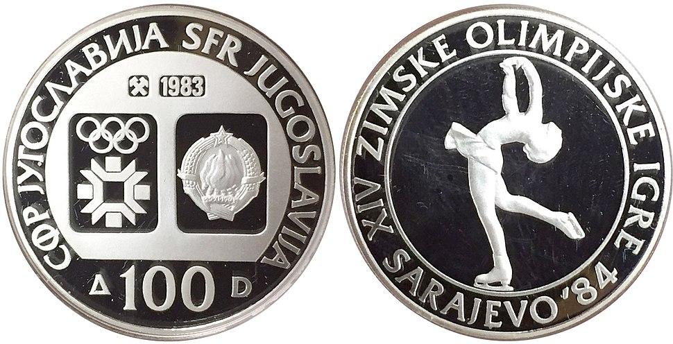 100 динара сребро ОИ Сарајево клизање 1983