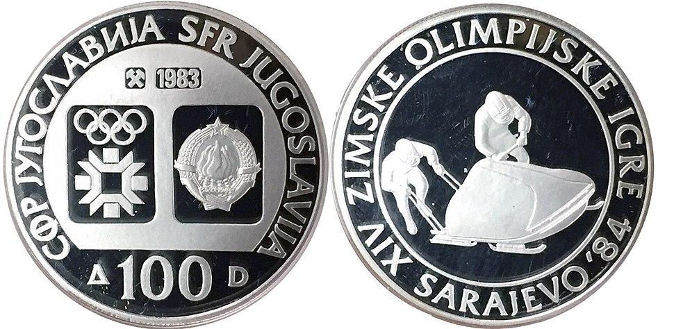 100 динара сребро ОИ Сарајево боб 1983