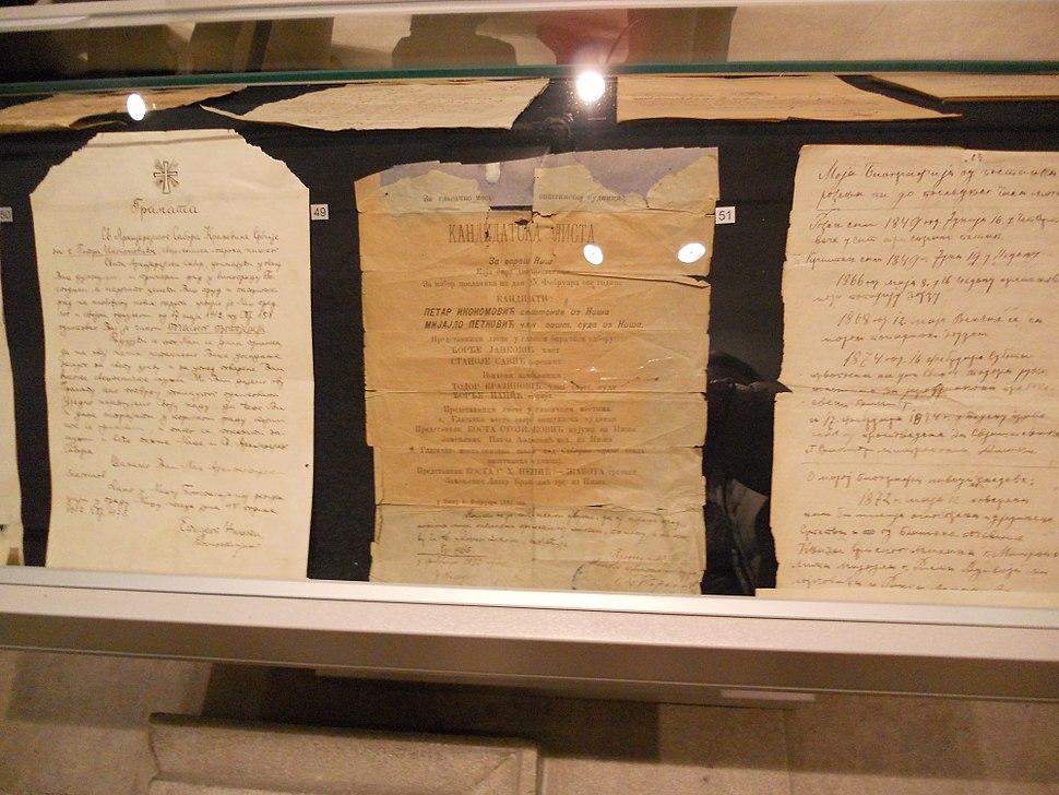 Glasački listić Niš 19.vek