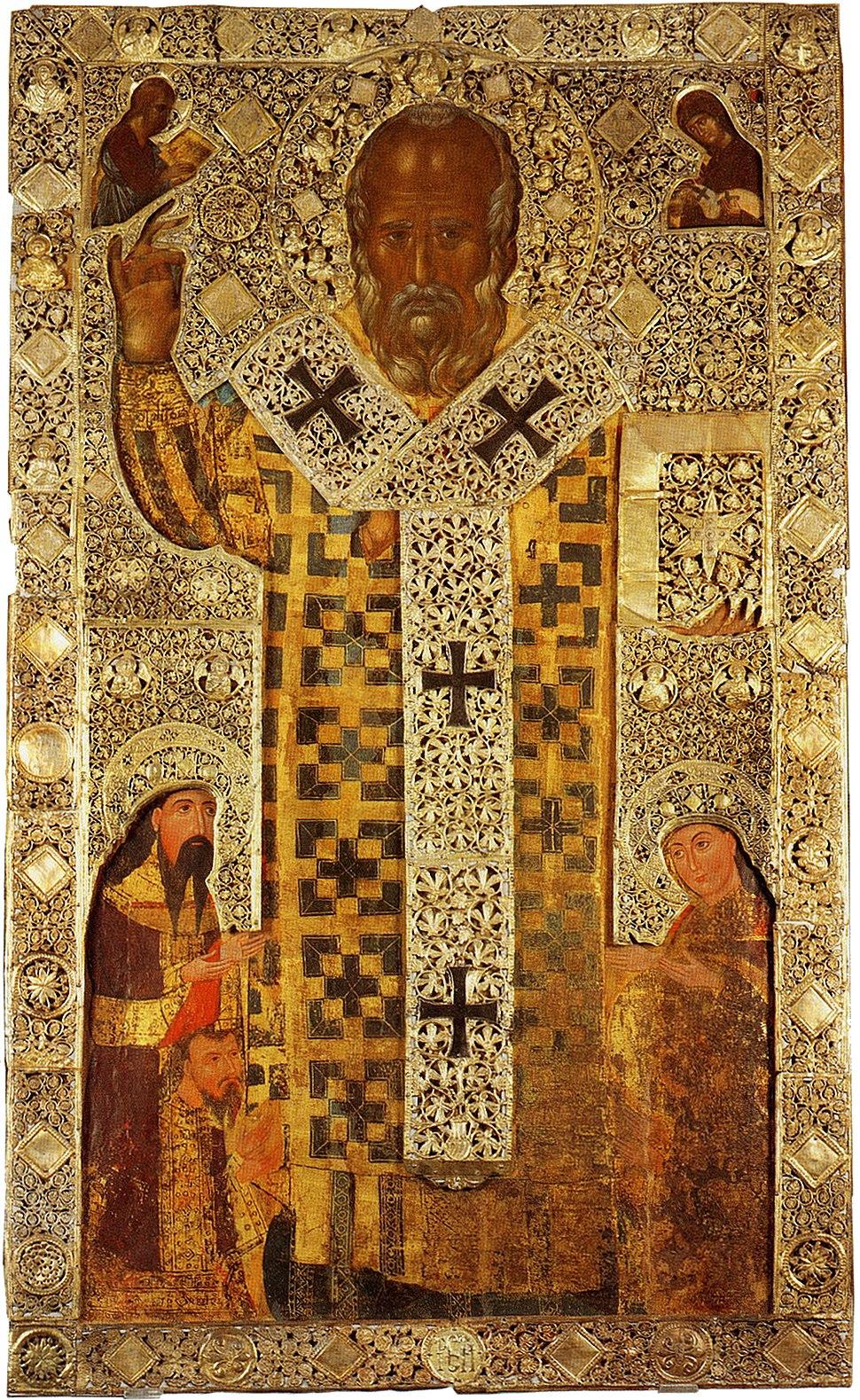 Ikona Svetog Nikole sa srpskim vladarima iz Barija, sa srebrnim okovom