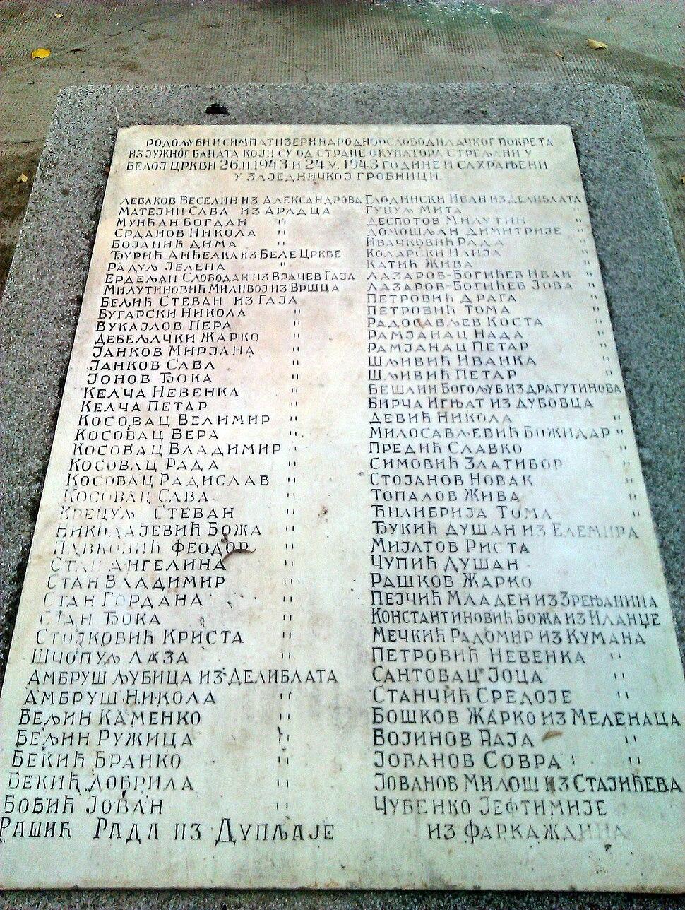 Spomenik streljanim osobama u Beloj Crkvi