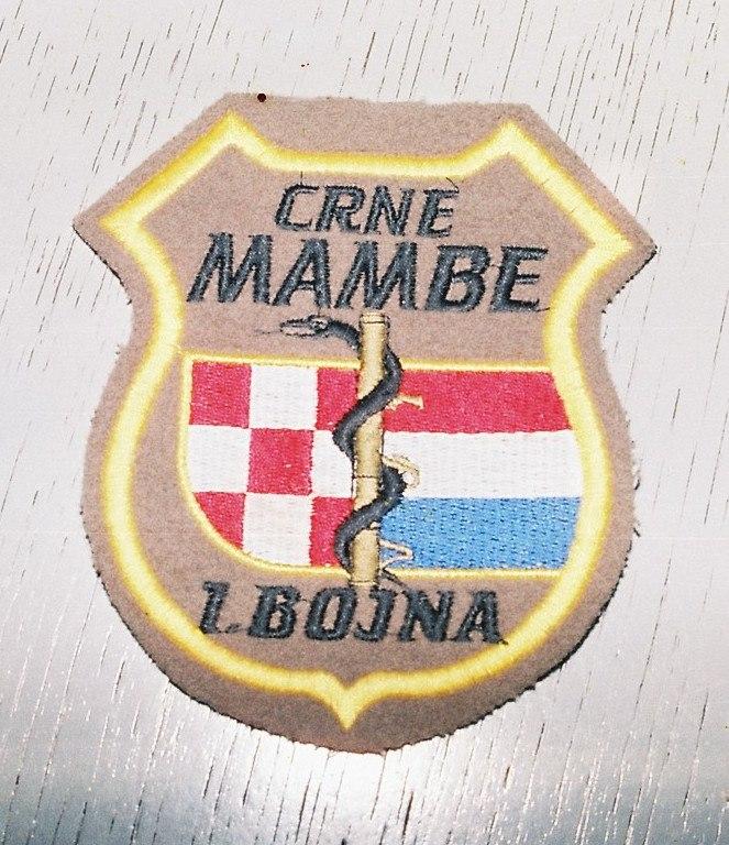 """Zaplenjen bedž """"Crne Mambe"""" (operacija Una 95)"""