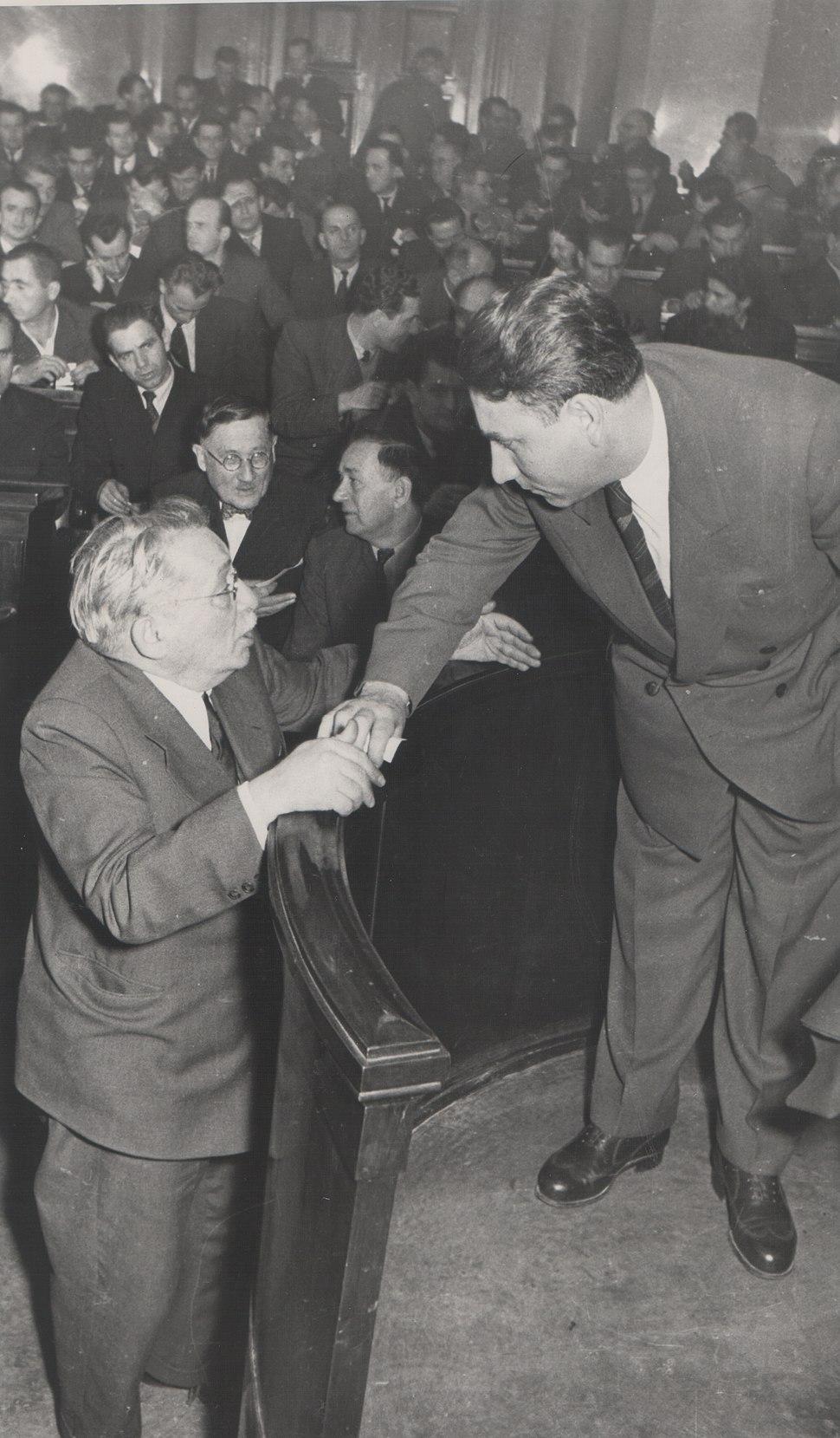 Stevan Kragujevic, Mosa Pijade i AleksandarRankovic, Narodna skupstina, 1955