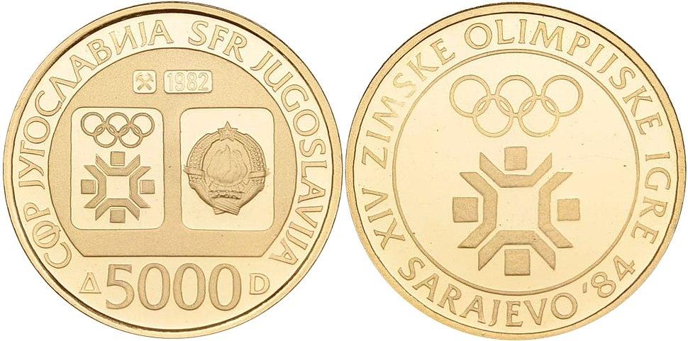5000 динара злато ОИ Сарајево 1982