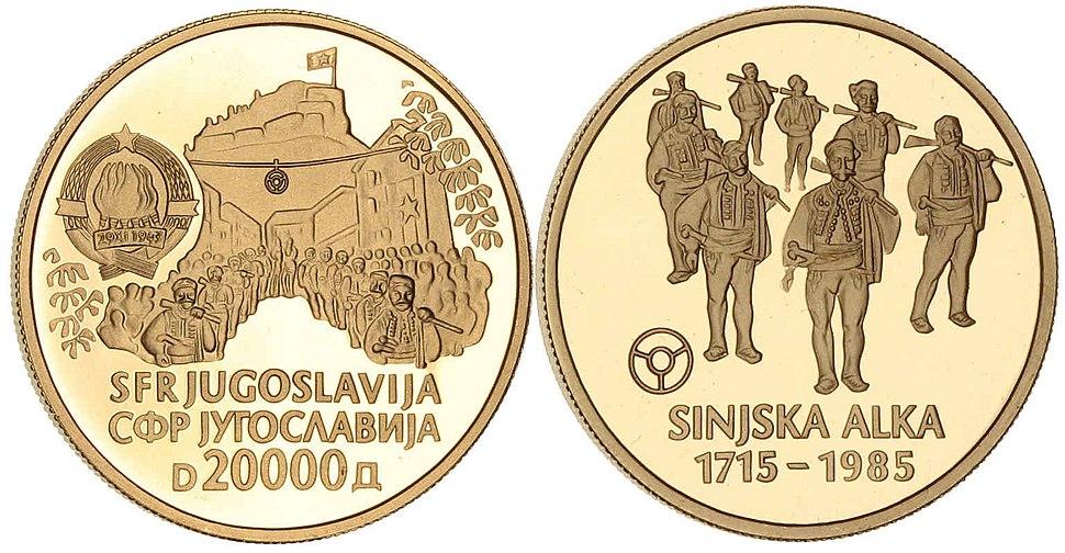 20000 динара Сињска алка 1985