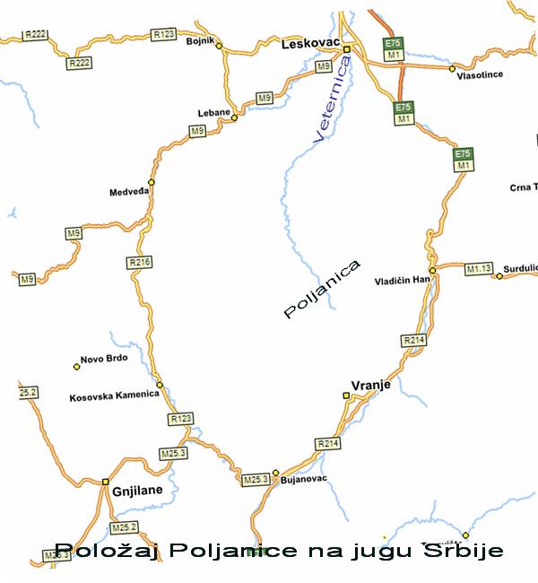 Položaj Poljanice na jugu Srbije