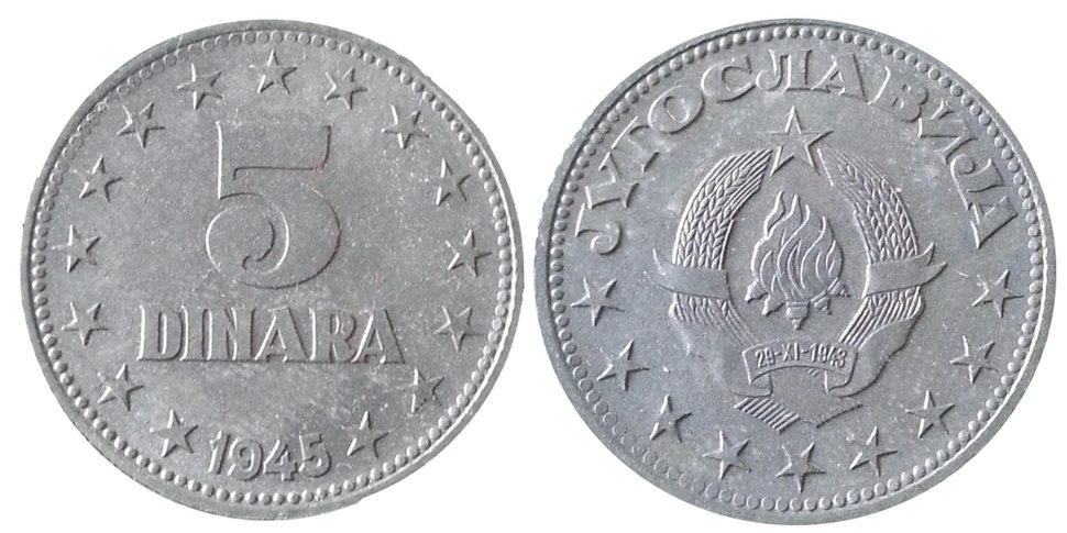 5 динара 1945