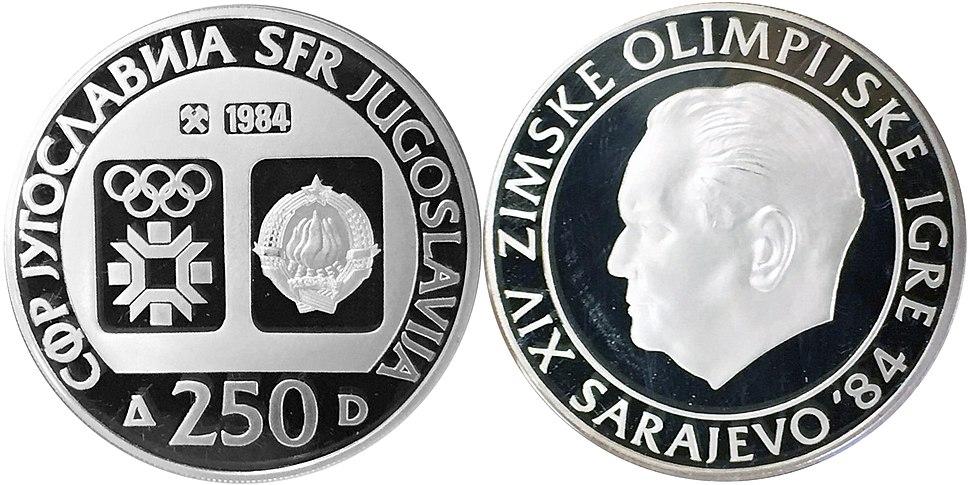 250 динара сребро ОИ Сарајево Тито 1984