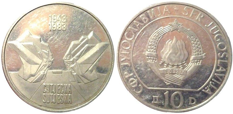 10 динара Сутјеска 1983