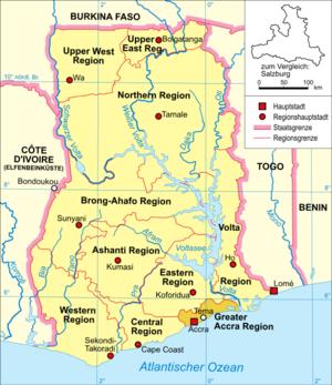 Mahali pa Tema katika mkoa wa Accra, Ghana