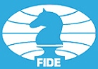 The logo of FIDE, the World Chess Organization, who sets the international rules.