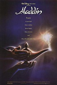 "A hand holds an oil lamp and another rubs it, and glowing dust starts coming off the lamp's nozzle. The text ""Walt Disney Pictures presents: Aladdin"" is atop the image, with the tagline ""Imagine if you had three wishes, three hopes, three dreams and they all could come true."" scrawling underneath it."