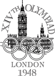 "The Palace of Westminster, a Gothic architecture building with two towers, sits behind the Olympic rings. The words ""XIVth Olympiad"" is written across the top in a semi-circular shape, while the words ""London 1948"" is written at the bottom of the logo."