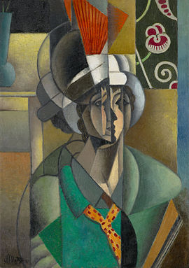 Jean Metzinger, 1913, La Femme à l'Éventail, Woman with a Fan, oil on canvas, 92.8 x 65.2 cm, Art Institute of Chicago..jpg