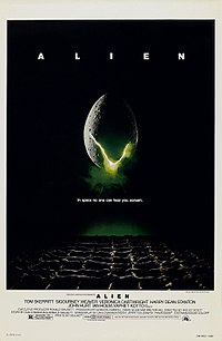 "A large egg-shaped object that is cracked and emits a yellow-ish light hovers in mid-air against a black background and above a waffle-like floor. The title ""ALIEN"" appears in block letters above the egg, and just below it, the tagline appears in smaller type: ""In space no one can hear you scream."""