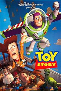 Film poster showing a toy cowboy anxiously holding onto a smiling toy astronaut (with wings) as he flies in a kid's room. Below them sitting on a bed are various smiling toys watching the pair, including a Mr. Potato Head, a piggy bank, and a toy dinosaur. In the lower right center of the image is the film's title. The background shows the cloud wallpaper featured in the bedroom.