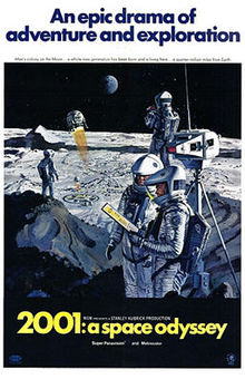"A painted image of four space-suited astronauts standing next to a piece of equipment atop a Lunar hill, in the distance is a Lunar base and a ball-shaped spacecraft descending toward it—with the earth hanging in a black sky in the background. Above the image appears ""An epic drama of adventure and exploration"" in blue block letters against a white background. Below the image in a black band, the title ""2001: a space odyssey"" appears in yellow block letters."