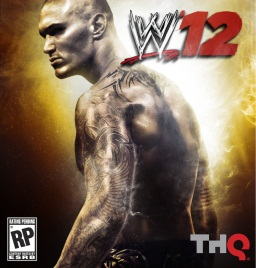 "In the center, a wrestler with arm tattoos with his back turned. In the top right is a logo that reads ""WWE '12. In the lower left is a logo that reads ""RP"" and in the bottom right is a logo that reads ""THQ""."