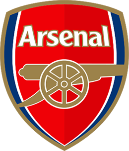 "Red shield with large gold cannon below the word ""Arsenal"" in white letters. Thin white and blue stripes line the shield's left and right edges."