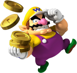 A VERY overweight character, wearing a yellow hat with a blue W, purple overalls with a yellow shirt underneath, green shoes and white gloves. He has pointy ears, a pink nose, thick eyebrows, and a wavy moustache, and has an evil grin. Three large golden coins are seen on his hand, with two others in the air above.