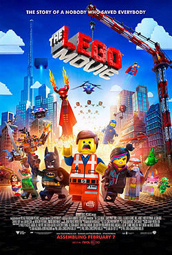 A construction worker Lego figure running away from a bright light with other Lego characters running alongside him.