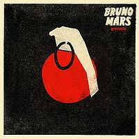 "Red hand grenade with a white handle and a black safety pin on a black background. The word ""Grenade"" is in lowercase red font beneath the words ""Bruno Mars"" in white capital font to the upper right."