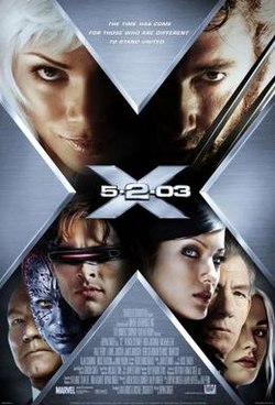 Poster shows a big X, within which are the faces of the film's main characters, and in the center the film's name.