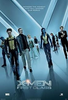 "The X-Men and the Hellfire Club walk towards the viewer. From left to right, they are Beast, Professor X, Magneto, Emma Frost, Moira McTaggert, Havok, Mystique, Azazel Salvadore, Angel and Sebastian Shaw. The background and its reflection on the floor form an ""X""."